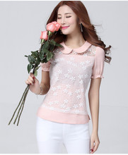 de alta calidad de las mujeres 2015 modelos de gasa blusas de manga corta