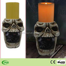 Polyresin skull ghost pumpkin led candle light