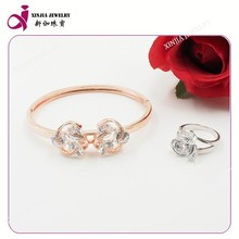 Movable cz inlay bracelet and ring set christmas bows mesh