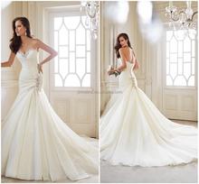2015 latest designer Sexy Mermaid wedding dresses elegant beading sweetheart off the shoulder sleeveless bridal gowns