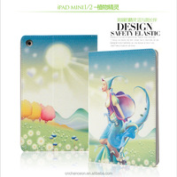High quality Flower talks series Stand PU Leather case for ipad mini CO-LTC-301