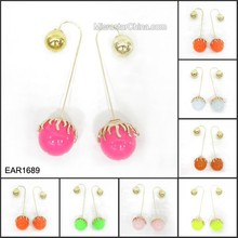 2015 New Designs Double Sided Woman Earrings For Daily Wearing