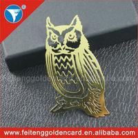 China cheap customized owl shape photo etched metal bookmark wholesale