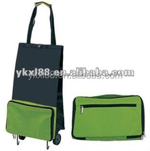 polyester and folding shopping bag with two wheels ZZ404A