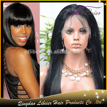2015 Hot Sale Lace Wig With Bangs 100% Unprocessed Virgin Remy Brazilian Human Hair front lace wig