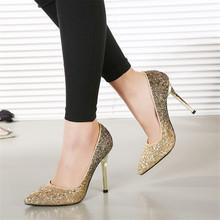 China Dress high heel bridal gold shinning wedding Shoe
