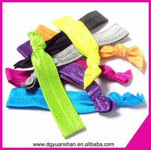 Stretch soft fold over elastic knotted hair bands for girl