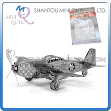 Mini Qute 3D Metal Puzzle P-51 Mustang plane warcraft military vehicle Adult kids model educational toys gift NO.ZY104