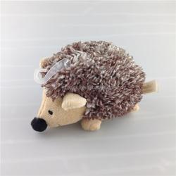 Mini size dark brown soft stuffed hedgehog plush pet toy