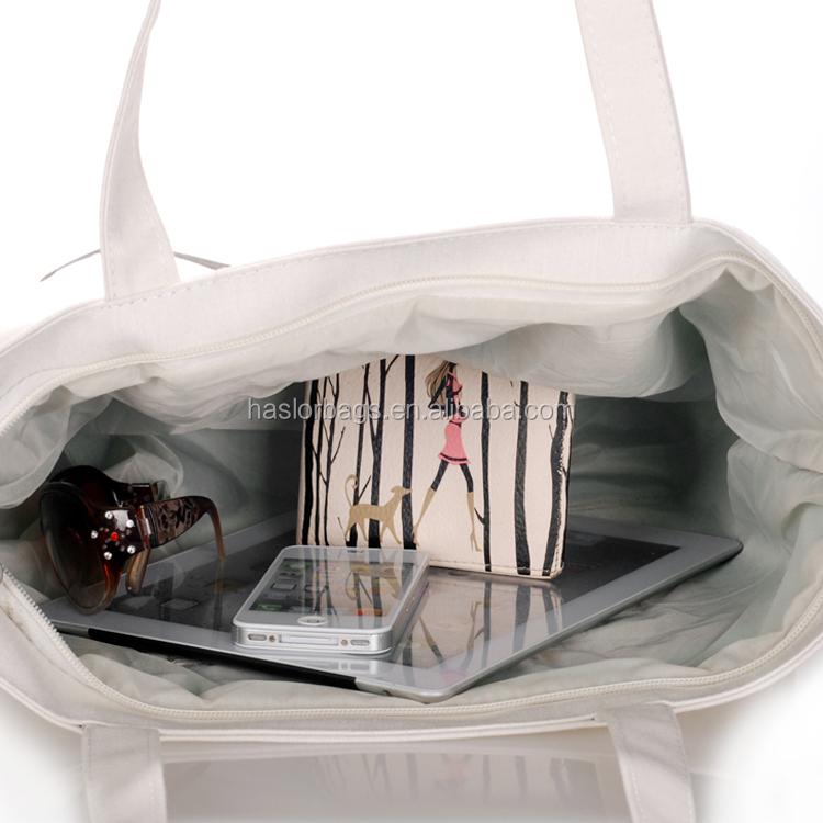 La mode pas cher recyclable commercial coton sac avec poignée