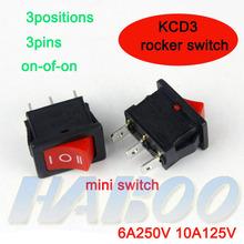 electrodomésticos 3 pines 3 posiciones interruptor on-off-on kcd3 t85 6a250v automotriz interruptor