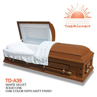 TD-A39 New arrival 2015 Solid Oak wooden casket open grain