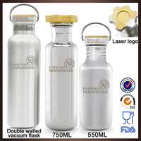 Custom logo natural bamboo lid 304 stainless steel water bottles safety with non plastic