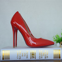 Red Patent Leather Women High Heel Shoes Thin Heel Stiletto Pumps Shoes Top Quality