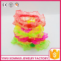 Satin embroidered organza fabric girls headands elastic headwear A0130