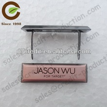 zinc alloy antique copper brushed metal logo tags for bags and clothing