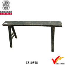 Distressed Black High Leg Long Antique Wooden Indoor Bench