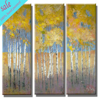 Wholesale group hand painted birch trees oil painting