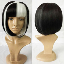 Classic short black and white vampire cosplay wig for Halloween