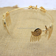 Baroque Funny Gold Hair Band With Starfish Shell Conch Decoratived Headpiece Hair Comb For Wedding