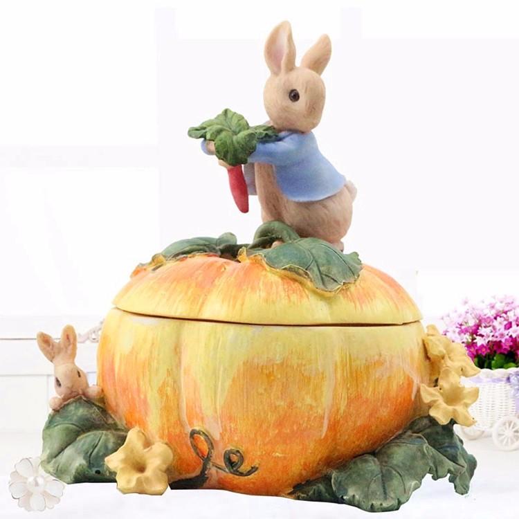 Halloween theme rabbit pumpkin jewel case resin jewellery box