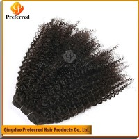 Premium Top Quality Natural Color 18'' Kinky Curly Virgin Brazilian Human Hair Weaving For African American Women