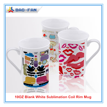 10OZ Blank White Sublimation Coil Rim Mug Sublimation Heat Press Mug Sublimation White Mug