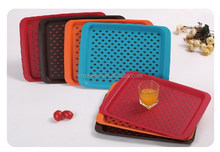 Colorful double non slip plastic rectangle serving tray