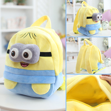 25*19cm(S)/35*28cm(L) lovely customzied yellow double-eyes Minions plush animal cartoon backpack for children