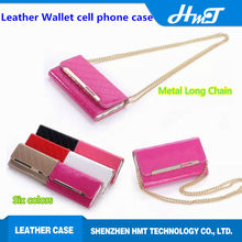 New arrival wallet leather flip case for iPhone 6 for samsung galaxy S6 with long metal golden chain with card slots for iPhone