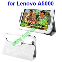 High quality Lichee Pattern PU Leather Case for Lenovo A5000 with Holder