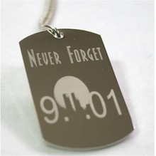 Yiwu Aceon 9-11 NEVER FORGET STAINLESS STEEL TAG NECKLACE MEMORIAL