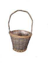 new design willow garden basket wholesale, garden flower basket, garden decorative basket with handle and gray stain