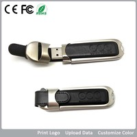 Bar-type metal leather usb 3.0 flash disk,logo printed,data save as festival giveaways