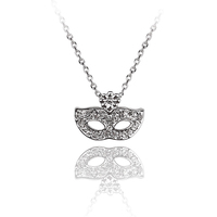 2016 tiny AAA zircon 18k white gold chic micro paved delicate party mask necklace