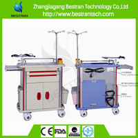 BT-EY002C ce certificate abs plastic crash cart medical emergency trolley equipment function