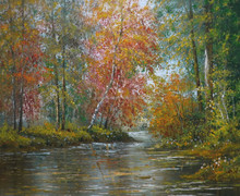 hot sell Impressionist Birch Forest Lake Oil Painting For Wall Decoration