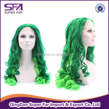 wholesale synthetic green party wig cheap silk top full lace wigs