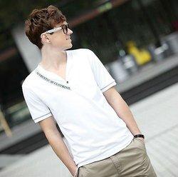 cotton plain white v-neck custom led slim fit t shirts