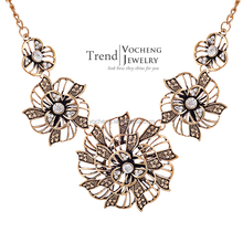 Wholesale 10pcs/lot Gold&Silver Plated Collar Necklace Vintage Flower Chain Necklace for Women (Vf-177*10) Vocheng Jewelry