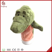 Funny plush crocodile finger puppet for kids stuffed cartoon animal finger puppet cloth doll educational hand toy