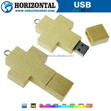 Wooden usb drive cross shape wood usb memroy,Usb flash disk 4GB full capacity free engrave logo.