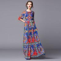 New 2016 Spring Long Dress Luxury Women Inspired Vintage National Print 3/4 Sleeve Sashes Floor-Length Maxi Dress For Beach XL