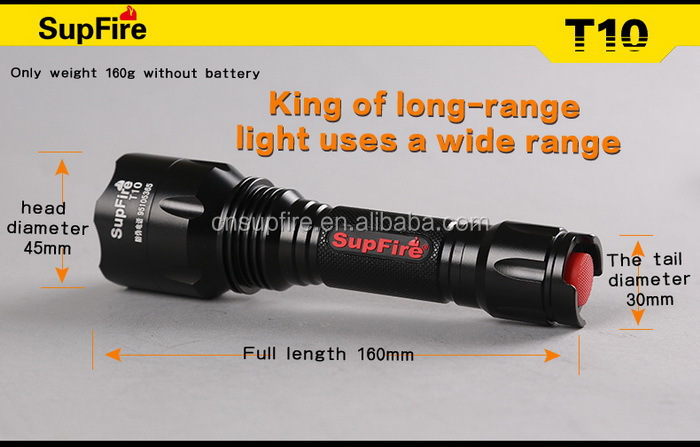 10W 3.7v SupFire T10 powerful rechargeable LED flashlight