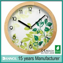 Art wooden wall clock/ wooden clocks home decor/ clock with flower picture