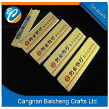 3d promotional aluminum alloy name badge for garments and offical desk as the enterprise meeting attending id card of small size