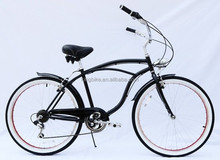"26"" steel frame single seped beach cruiser bike with comfortable saddle"