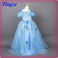 2015 New arrival fashion children long frocks designs frozen elsa girls wedding dress TR-F90