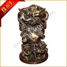 Chinês Fengshui bronze Sorte Fera escultura