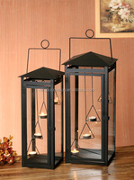 Classic Black Hanging Decorative Metal Lantern With Glass Window, Outdoor Hurricane Lantern With Handle for Garden Decoration